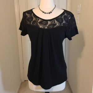 Lucky Brand Black Lace Top Short Sleeves Size L